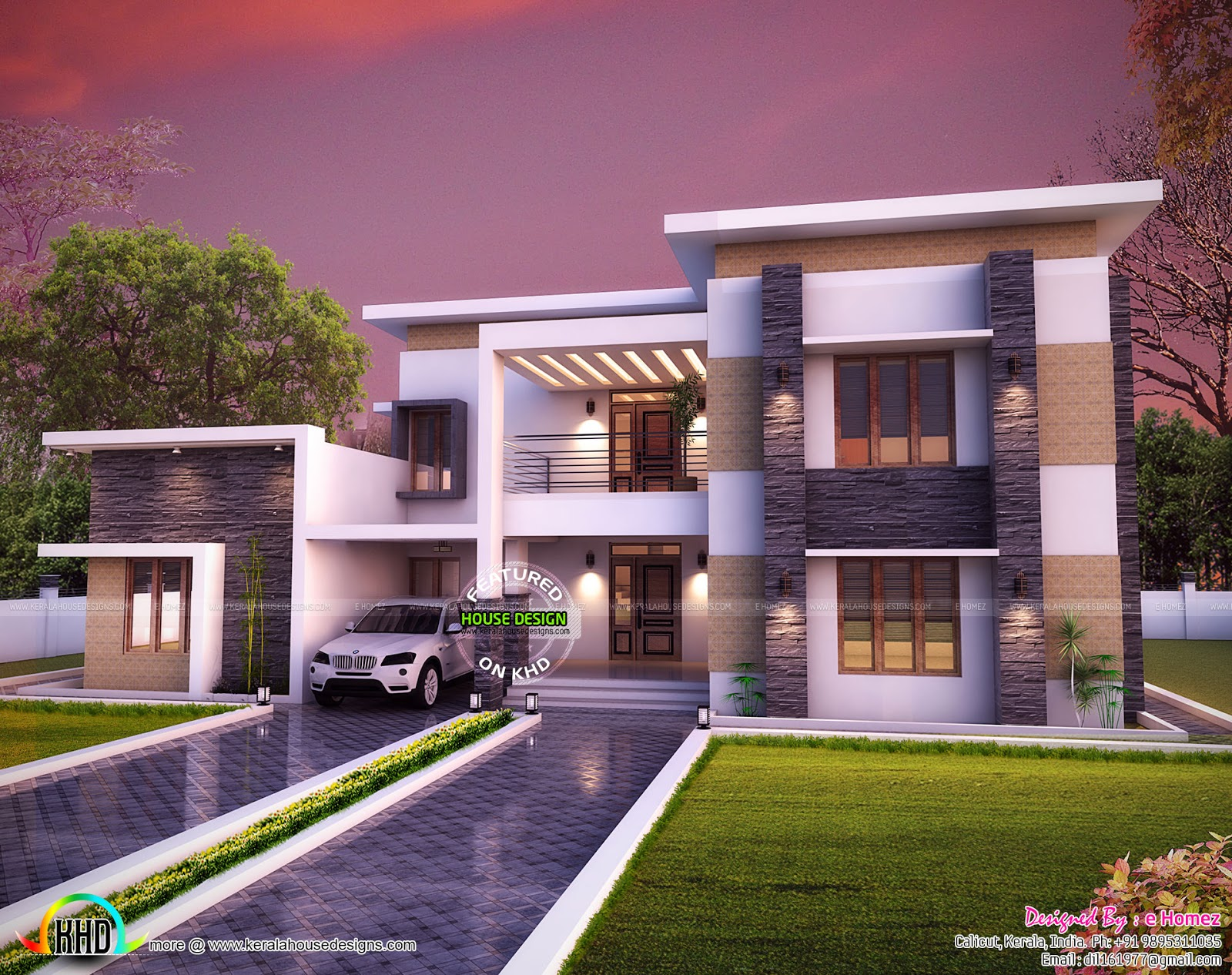 3654 sq ft flat roof house plan kerala home design and for Kerala home design flat roof elevation