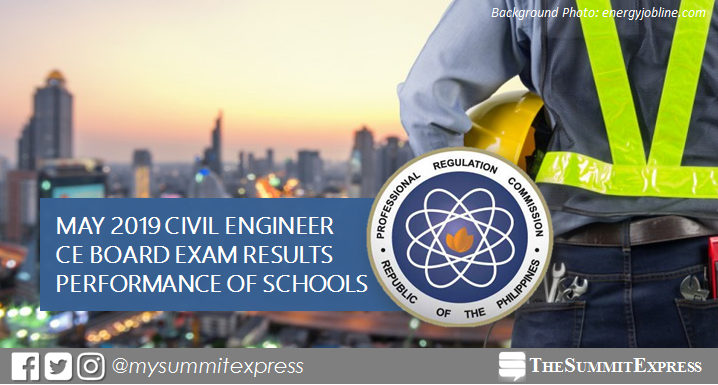 May 2019 Civil Engineering CE board exam result: performance of schools