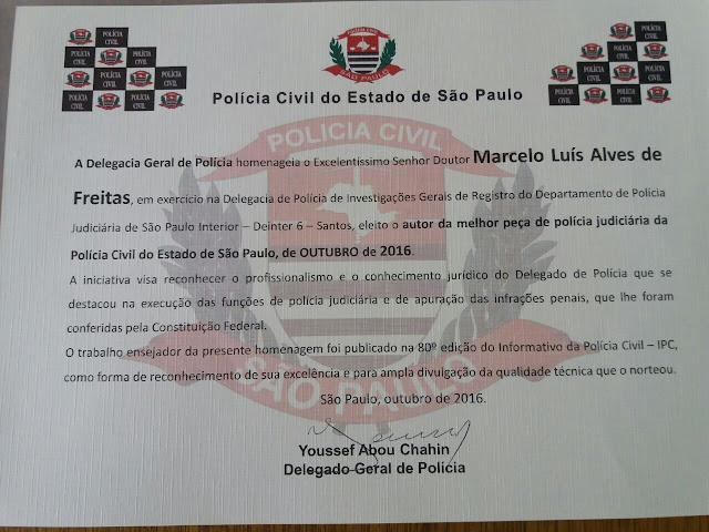 DR. MARCELO FREITAS, DELEGADO DE POLÍCIA TITULAR DA DIG DE REGISTRO RECEBE É HOMENAGEADO NO CONSELHO DA POLÍCIA CIVIL EM SÃO PAULO