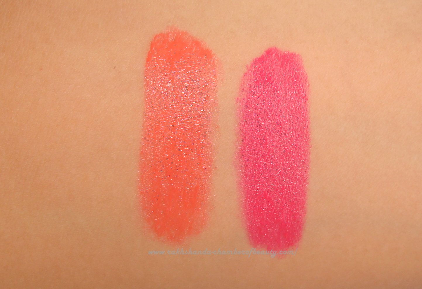 Maybelline NY Color Show Lipsticks- Review, swatches & price in India, Intense Fashionable lipcolor, Fuchsia flare, Orange Icon, Indian Beauty blogger