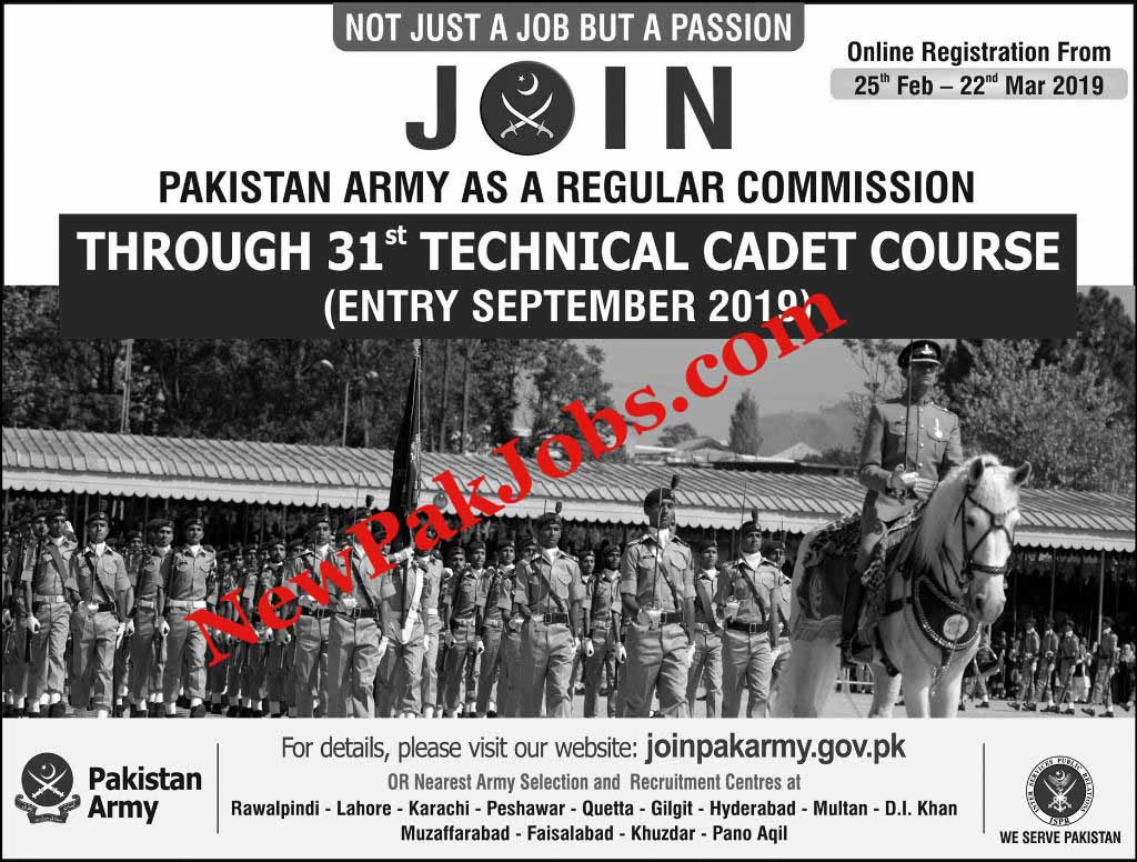 Join Pakistan Army As A Regular Commission, Pakistan Army Jobs 2019