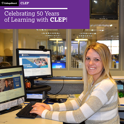 Image of a testing associate smiling at the camera.  Banner For CollegeBoard CLEP: Celebrating 50 Years of Learning with CLEP!