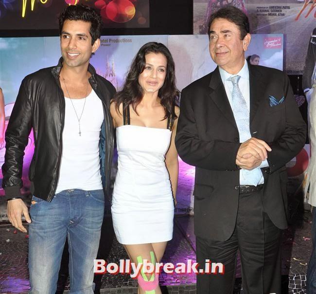 Amisha Patel and Randhir Kapoor, Hot Amisha Patel in White Dress at Desi Magic Poster Launch
