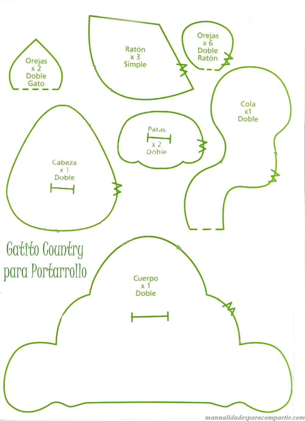 Molde Gatito de tela country - Manualidades en genero
