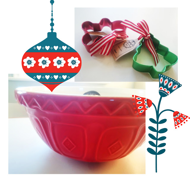red traditional mixing bowl and cookie cutters