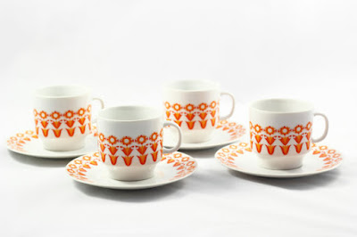Vintage 1970s White and Orange Teacups & Saucers