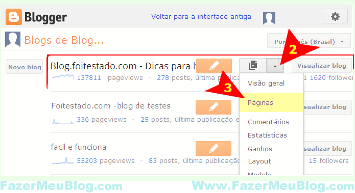 organizar links de menus de blogs do blogger