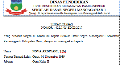 Contoh Surat Tugas Membimbing Siswa Nova Ardiyani