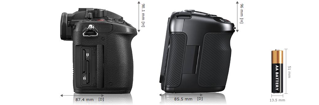 Сравнение размеров Panasonic GH5s и Blackmagic Pocket Cinema Camera 4K - вид сбоку
