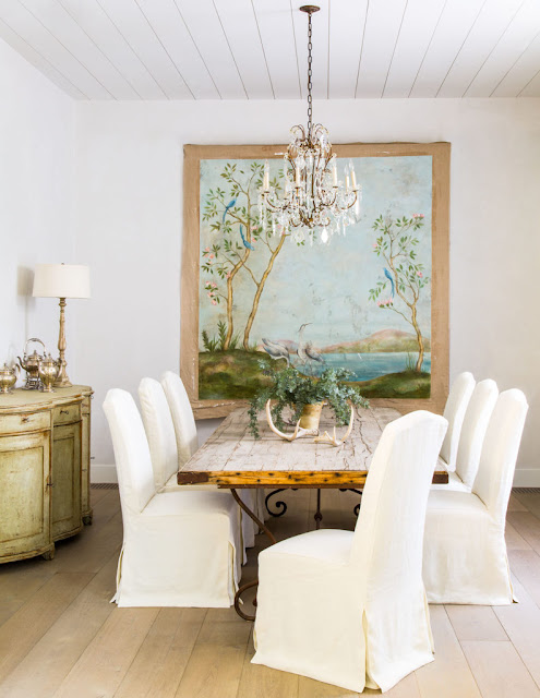 image result for traditional modern farmhouse dining room with mural California renovation Giannetti