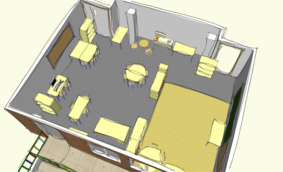 Jugando a ser ni s plano de mi clase en 3d rincones for Muebles para aulas