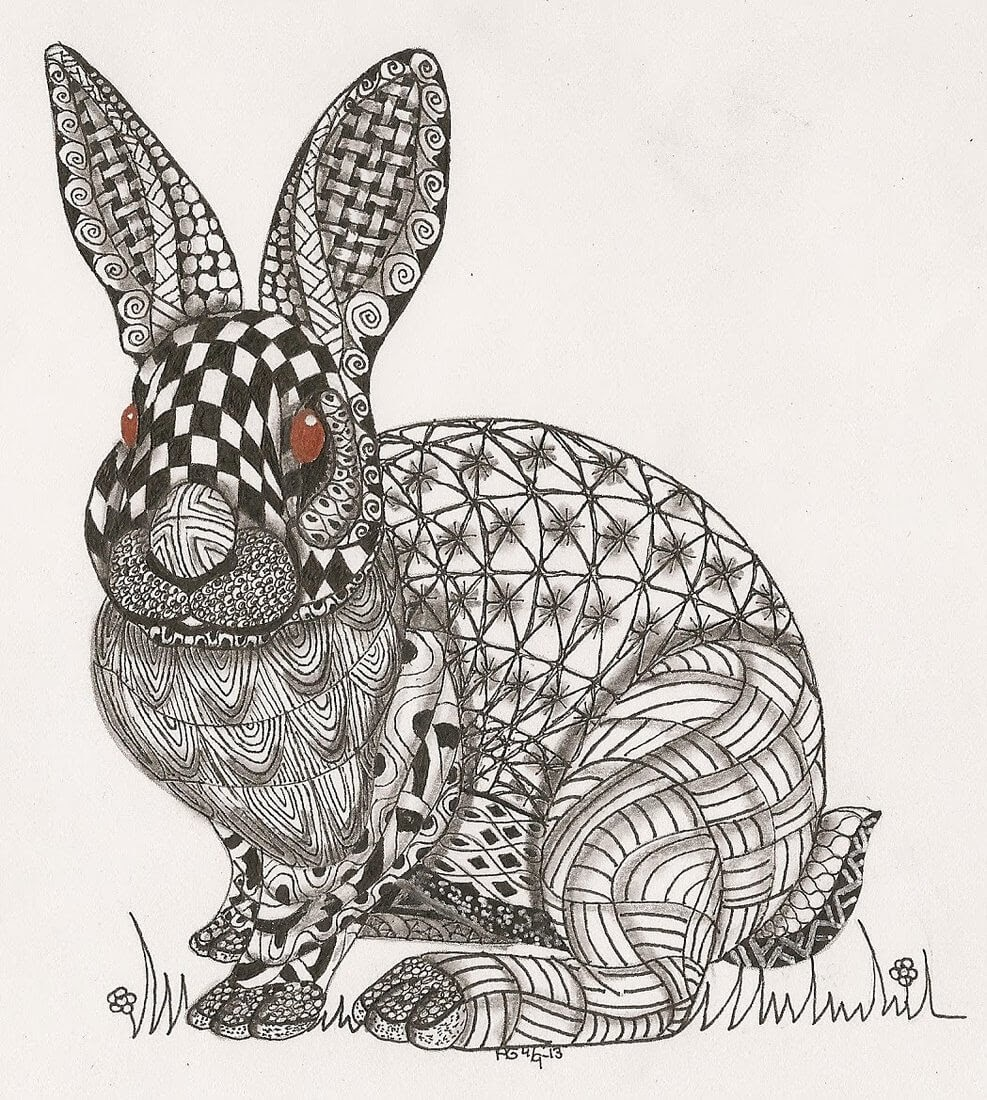 14-Rabbit-Adri-van-Garderen-Animals-Given-the-Zentangle-Treatment-www-designstack-co