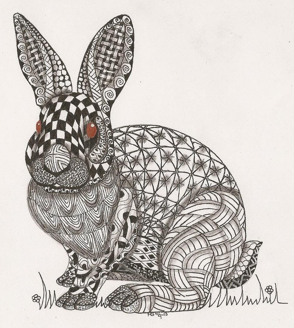 14-Rabbit-Adri-van-Garderen-Animals-Given-the-Zentangle-Treatment-www-designstack-co