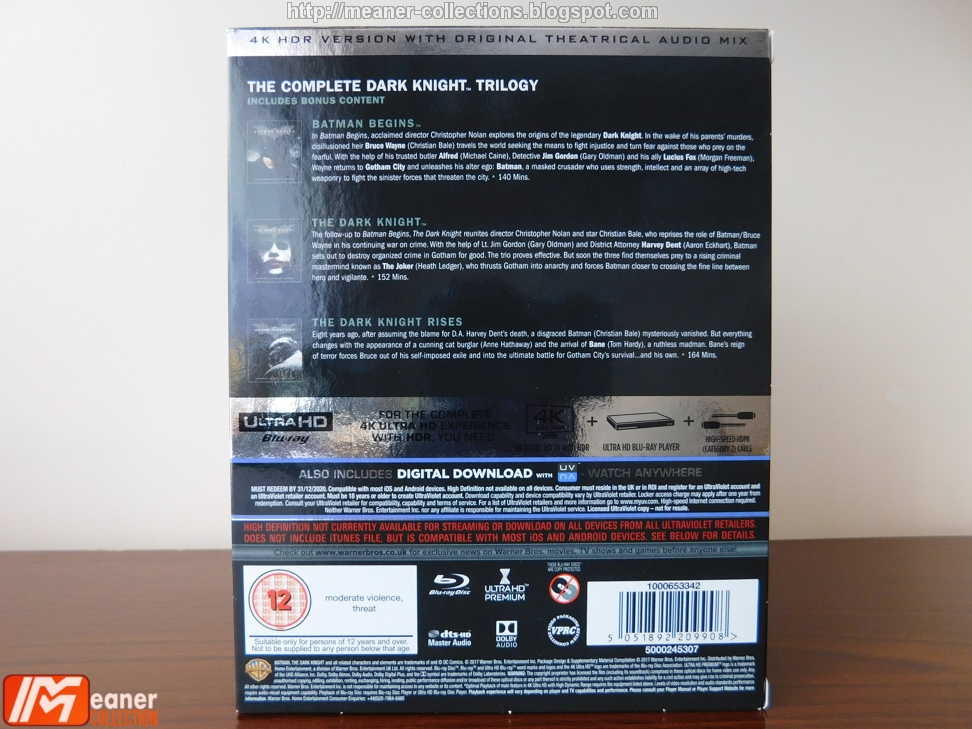The Dark Knight Trilogy - [Blu-ray 4K UHD - Amaray] [UK] - Meaner