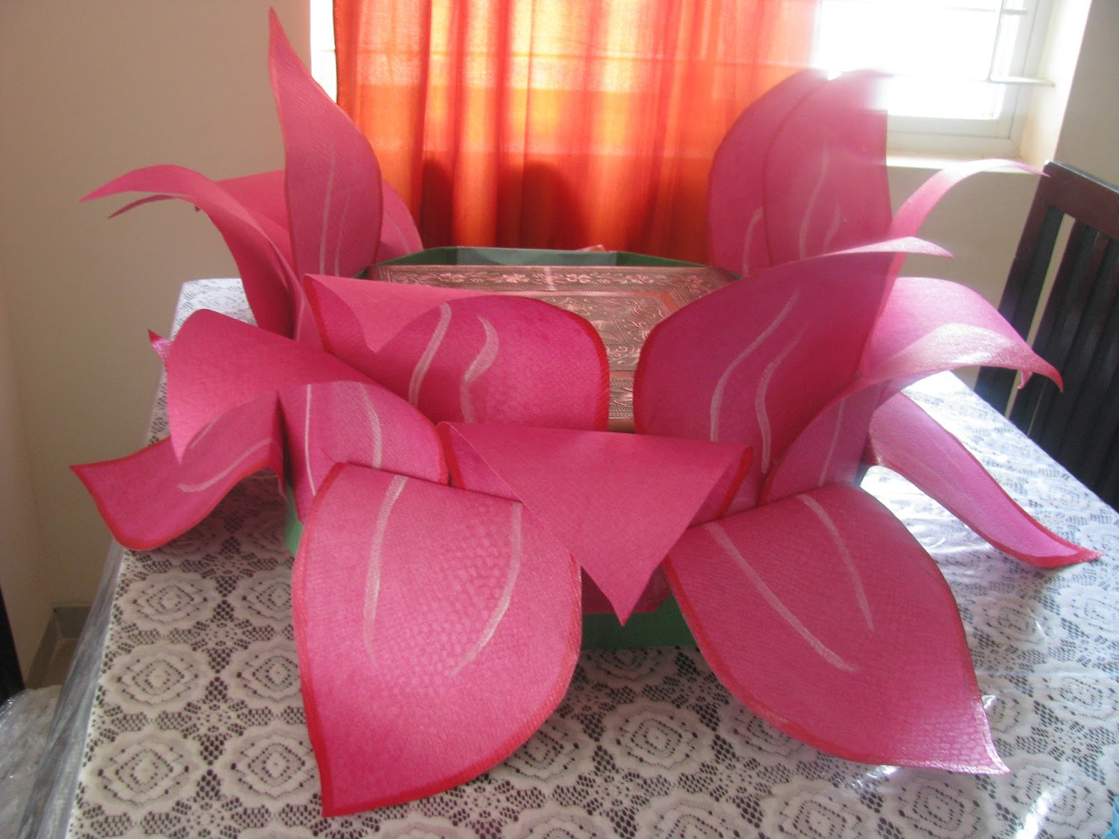 How to make lotus flower with paper for ganpati decoration hobby works in bangalore a huge lotus paper flower prepared for mightylinksfo