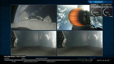 SpaceX Falcon Heavy in low orbit