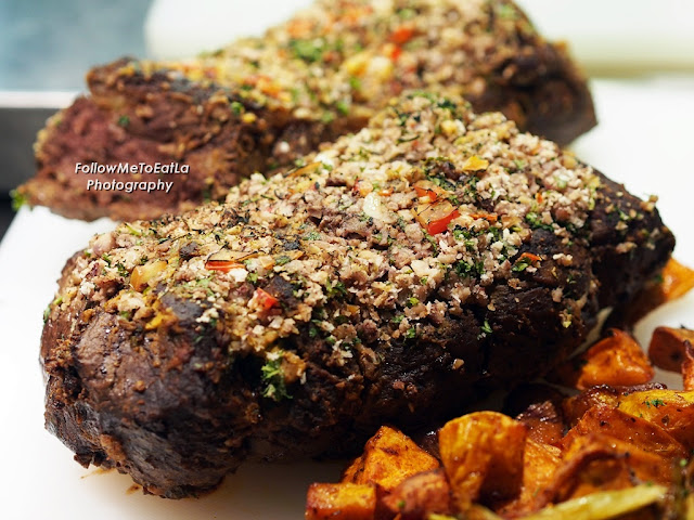 Baked Crusted Chestnut & Mustard Australian Striploin With Condiments
