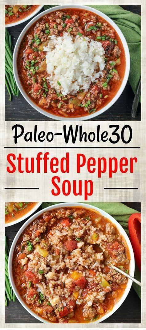 PALEO RECIPES | Paleo Whole30 Stuffed Pepper Soup