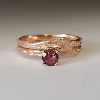 Twig & Leaf Engagement Ring, Morganite Branch Bridal Set, 14k Rose Gold, 14k Rose Gold Bridal Set, Hand Sculpted by Dawn Vertrees