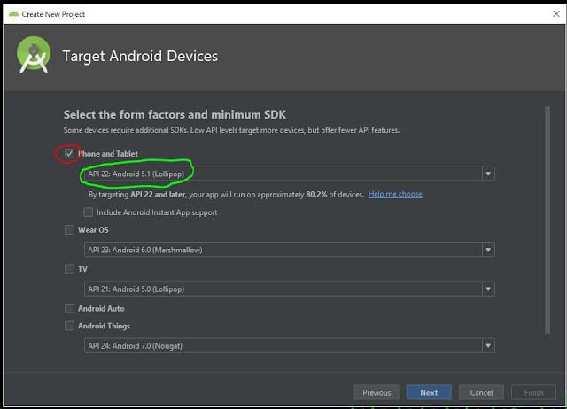 pemilihan API dalam membuat project baru di android studio