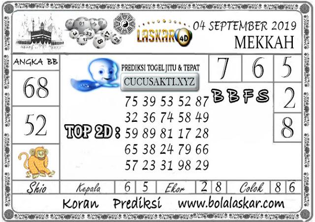 Prediksi Togel MEKKAH LASKAR4D 04 SEPTEMBER 2019