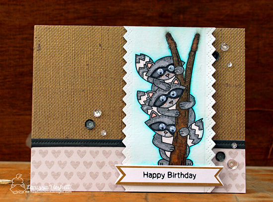 Happy Birthday Raccoon Card by Larissa Heskett | Raccoon Rascals Stamp set by Newton's Nook Designs #newtonsnook