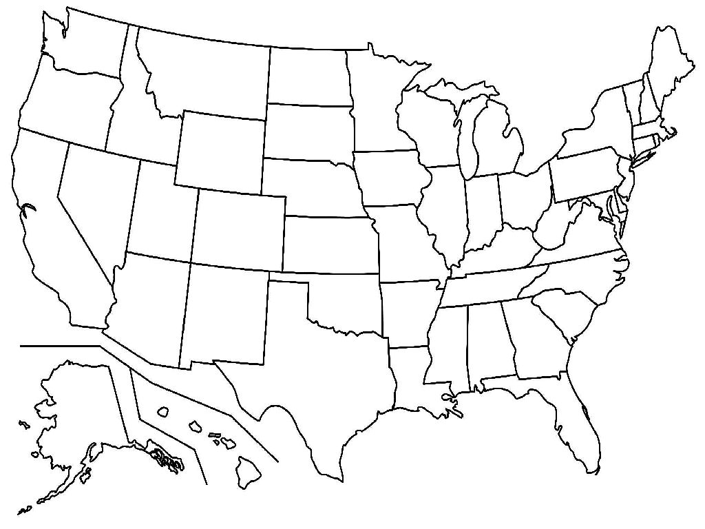 united states unlabeled map