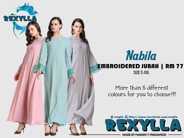 rexylla, embroidered jubah, nabila collection