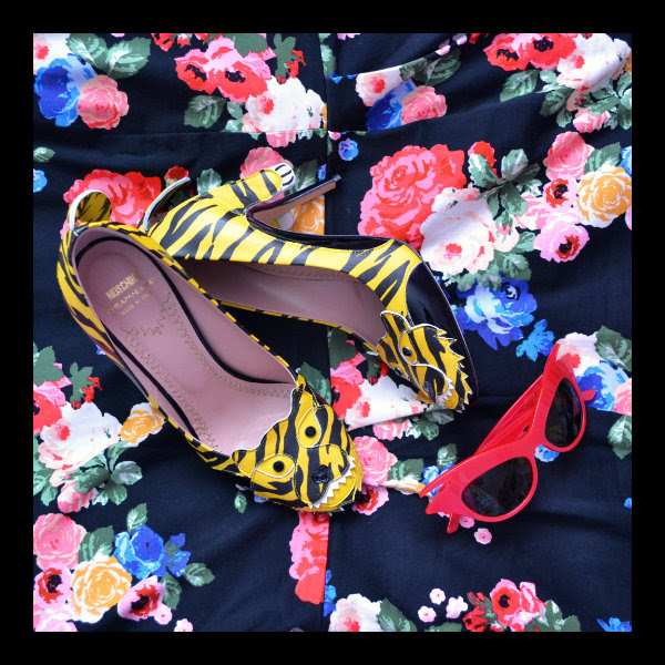 moschino cheap & chic tiger shoes asos floral wiggle dress and miss dior cherie sunglasses