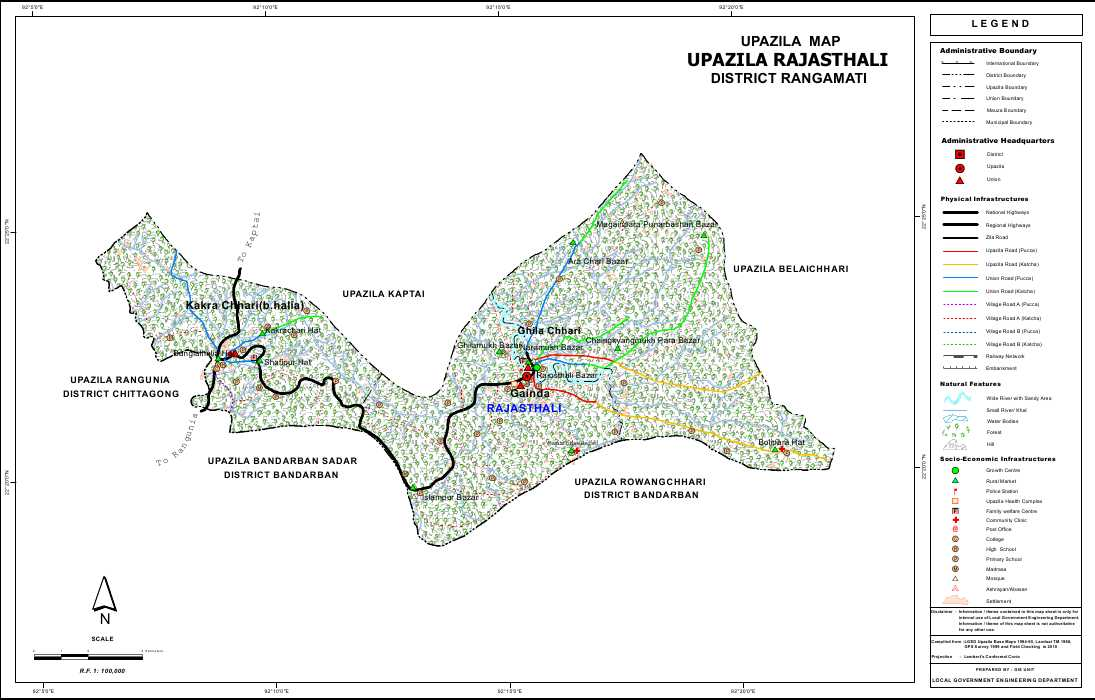 Rajasthali Upazila Map Rangamati District Bangladesh