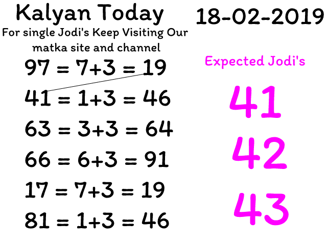 kalyan matka 18-02-2019 Single Jodi Trick