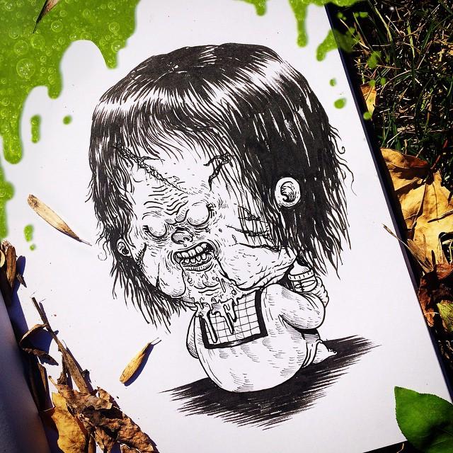 Artista Cria Desenhos De Personagens De Filme De Terror Como