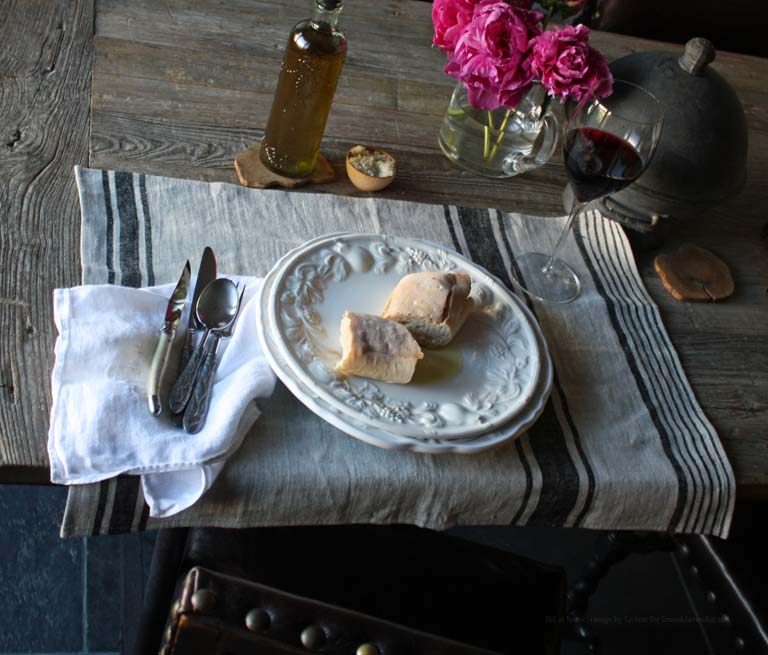 """Provence"" Black Stripe Linen Towel as a placemat, image by LeAnn for linenandlavender.net - http://www.linenandlavender.net/2012/11/linen-love.html"