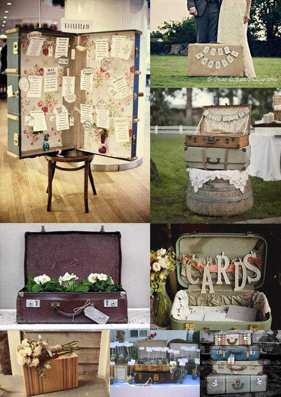These vintage suitcases used as wedding decor to hold flowers and cards are adorable.