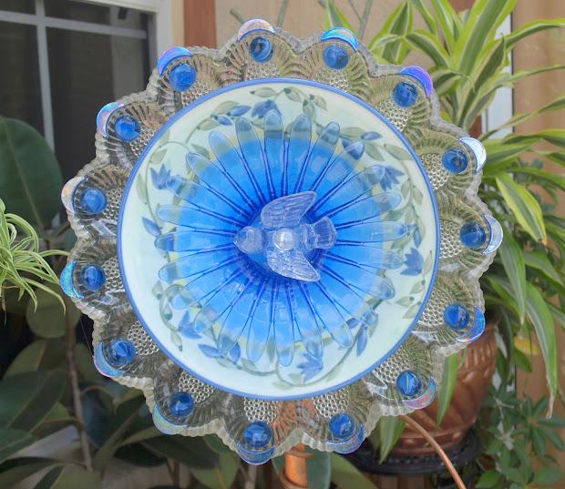 Glass Garden Plate Flower Yard Art