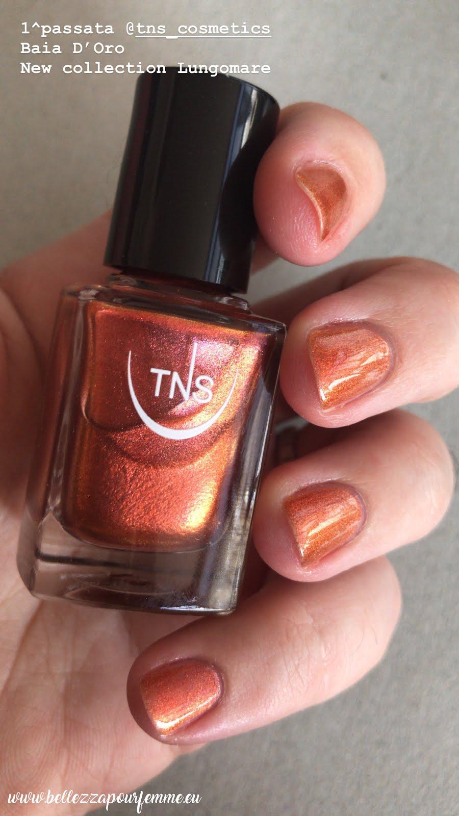 1 applicazione TNS Cosmetics SS 2018 Lungomare smalto Baia D'Oro