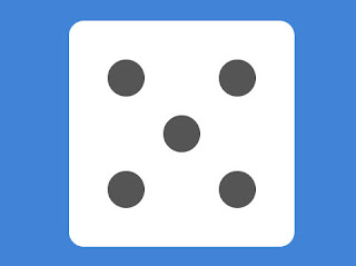 Dice with 5 spots on a blue back-ground.