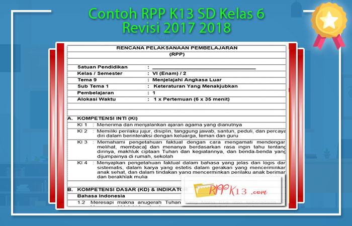 Download RPP K13 Kelas 6 Revisi 2017