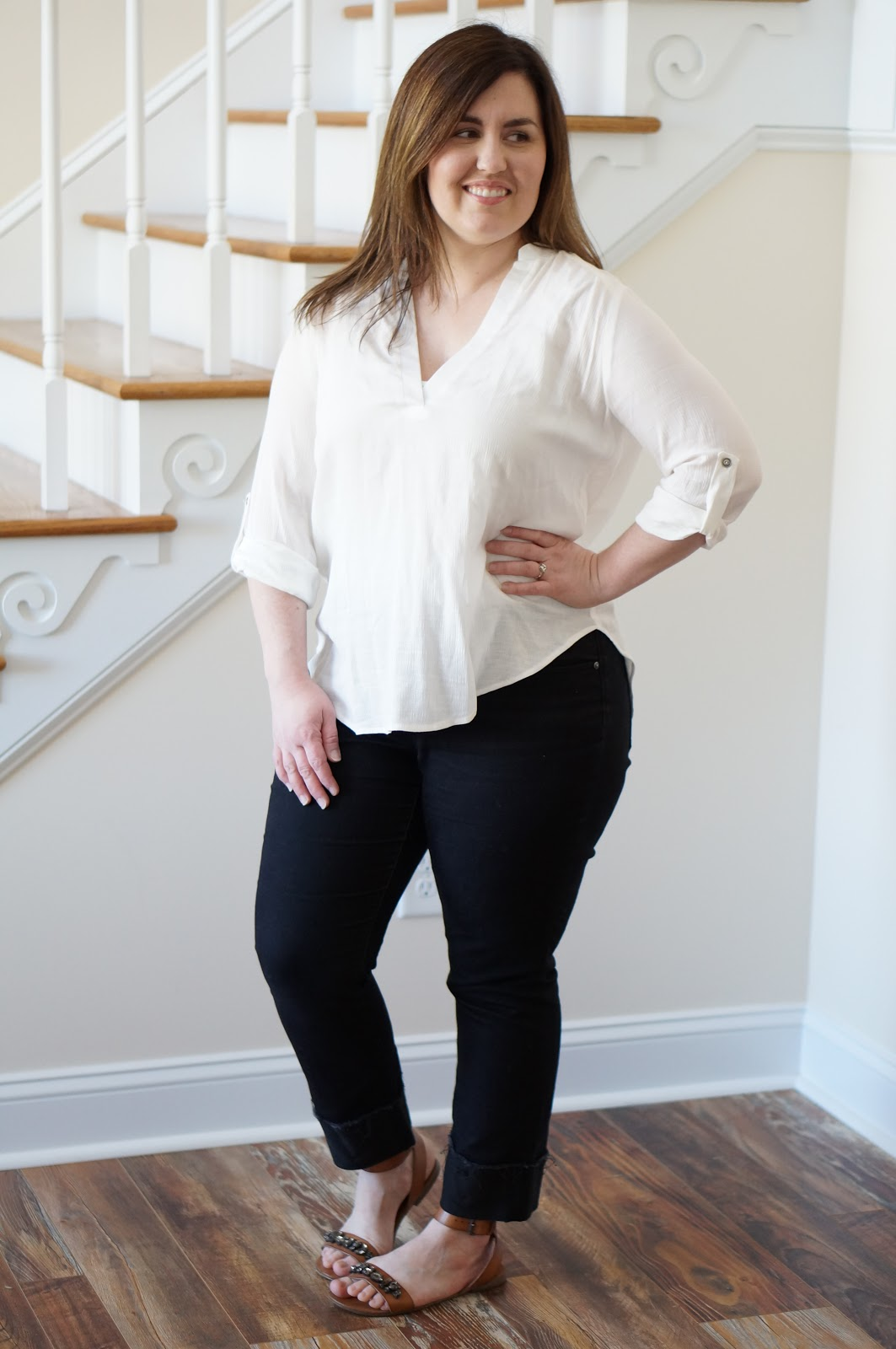 Popular North Carolina style blogger Rebecca Lately shares a simple spring look with cognac sandals.  Click here to read more!