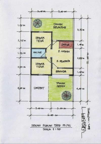 gambar denah rumah sangat sederhana 1