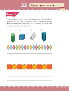 Apoyo Primaria Desafíos Matemáticos 4to. Grado Bloque II Lección 33 Figuras para decorar