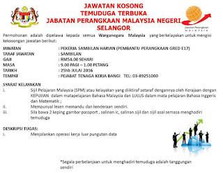 Kerja Kosong Temuduga Terbuka Jabatan Perangkaan Selangor