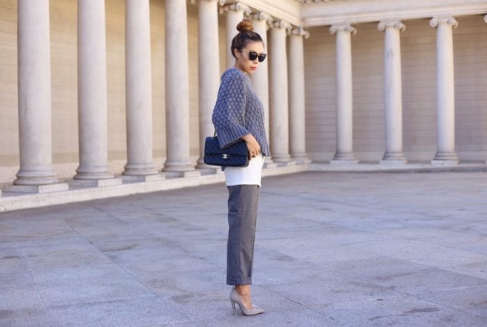 banana republic fisherman sweater, white tee, banana republic grey pants, chanel bag, kendra scott necklace, prada retro sunglasses, work outfit, work attire, schutz heels, street style, san francisco, nyc blogger, what to wear to work