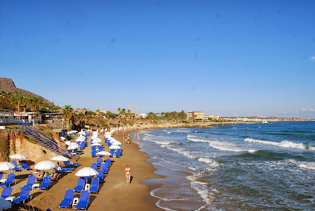 Meltemi beach, Hersonissos, Crete. Пляж Мельтеми, Херсонисос, Крит.