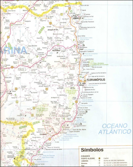 Mapa rodoviário do litoral de Santa Catarina