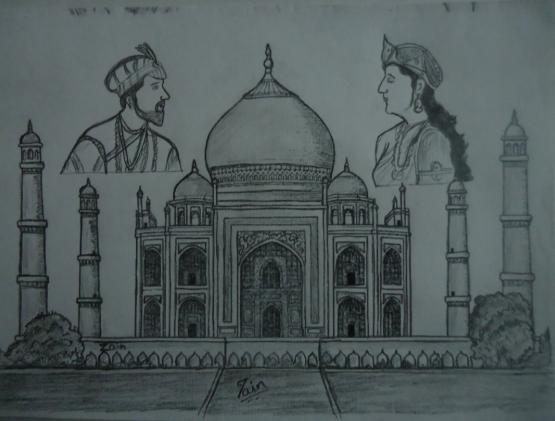 Pencil Sketches & Painting : Taj Mahal