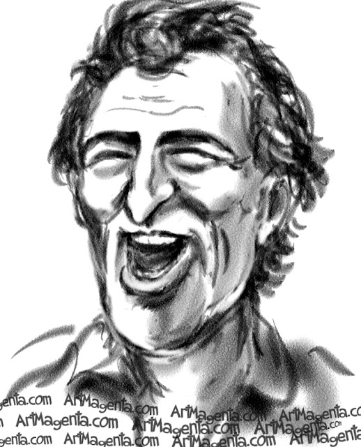 Bruce Springsteen caricature cartoon. Portrait drawing by caricaturist Artmagenta.
