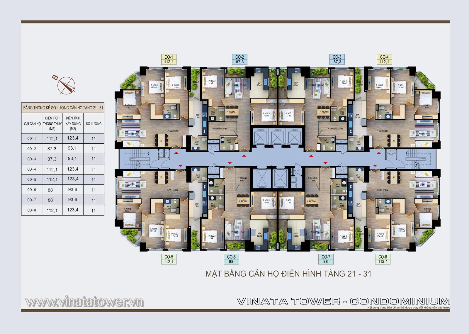 Mặt bằng điển hình tầng 21 - 31 Vinata Tower