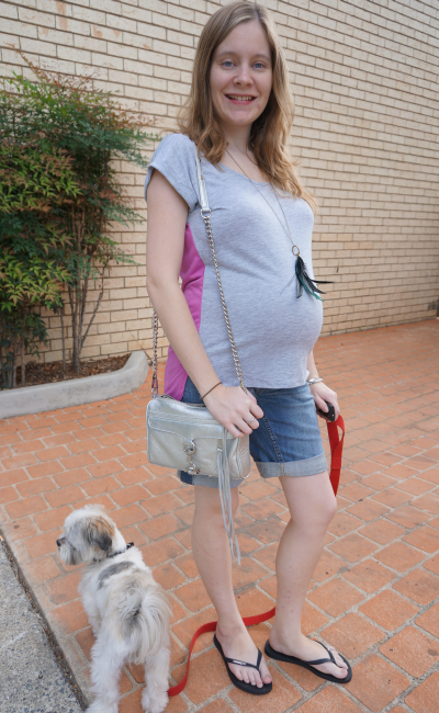 Casual shorts and tee jeanswest maternity pregnancy outfit third trimester aussie blogger