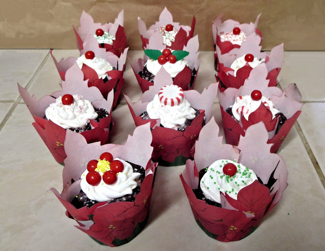 Christmas Chocolate & Peppermint Cupcakes - Poinsettia Wrappers & Various Decorations 1